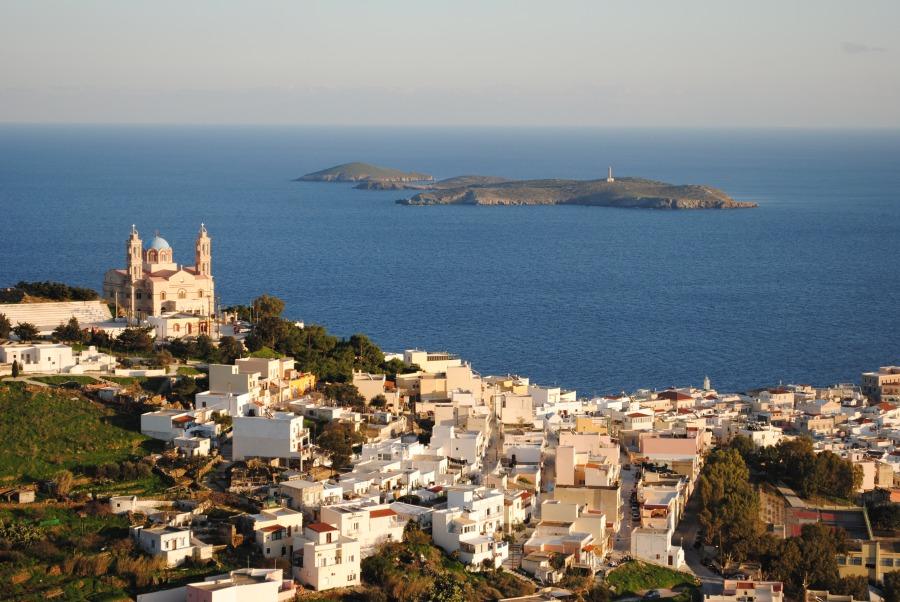 View over Ermoupoli on Syros Island